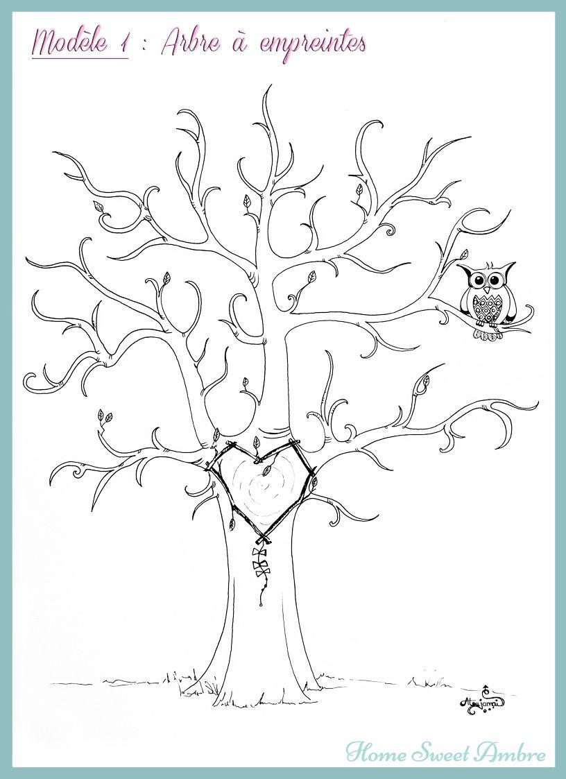 arbre empreintes t l chargeable et imprimable gratuitement id al pour les naissances et. Black Bedroom Furniture Sets. Home Design Ideas