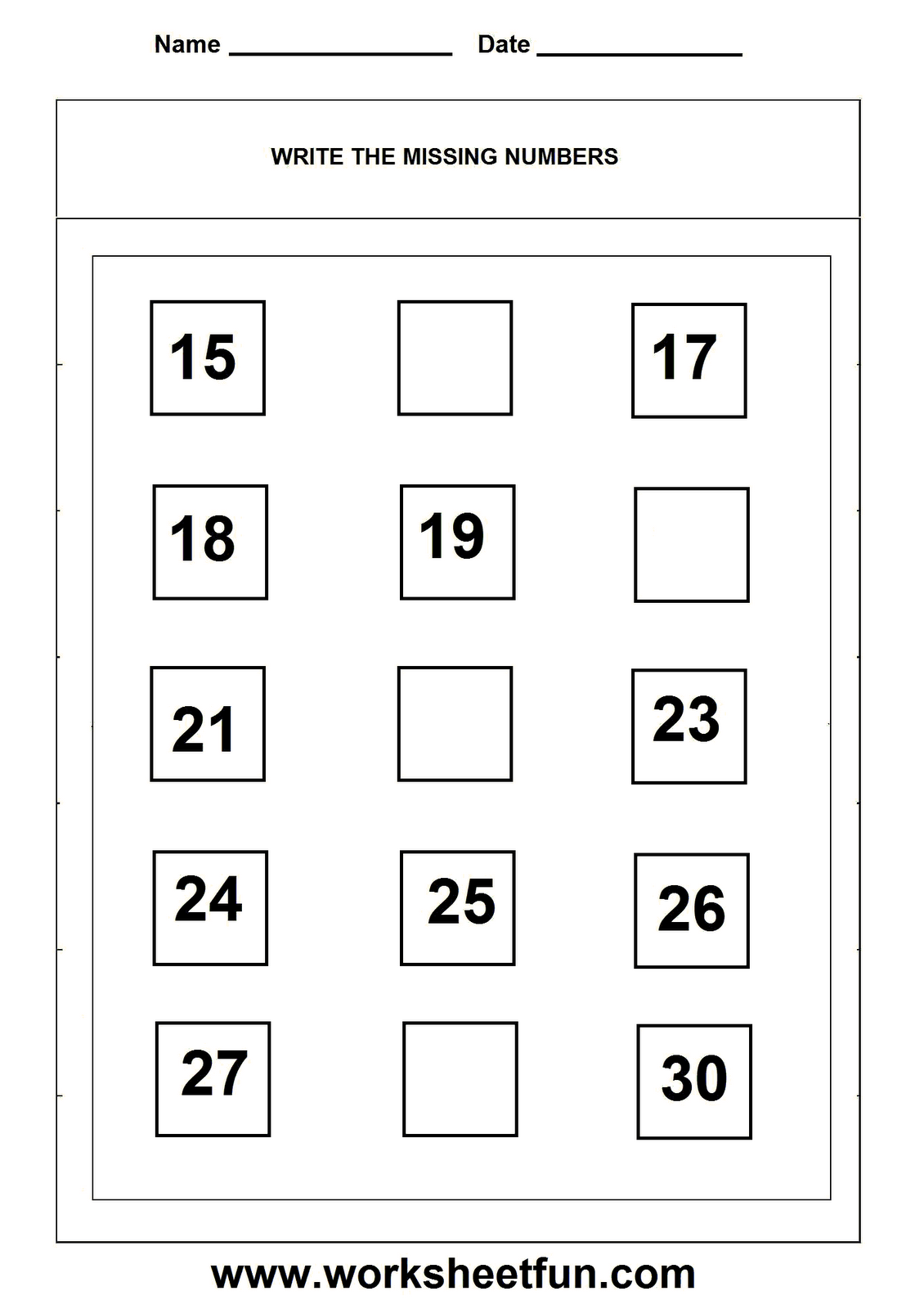 Missing Numbers Worksheet