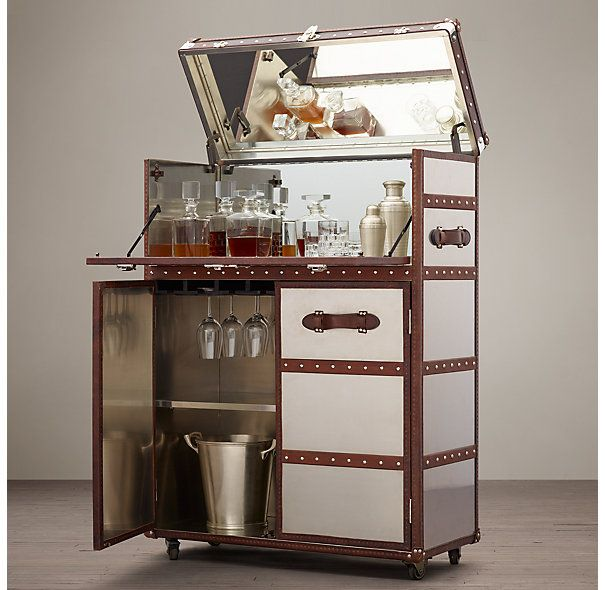 Mayfair Bar Cart Brushed Steel Restoration Hardware If
