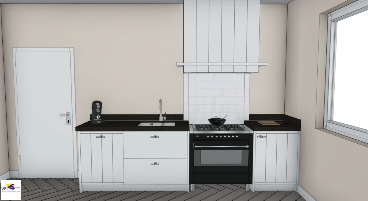 Landelijke moderne keuken met fornuis in 3d ontwerp for 3d ontwerp keuken
