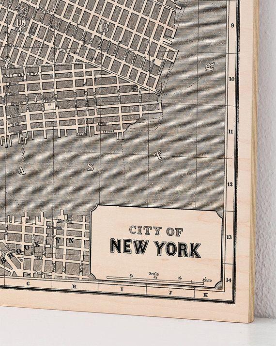 New York City, Wood Print Map, Vintage Home Decor, Map Art | Print ...