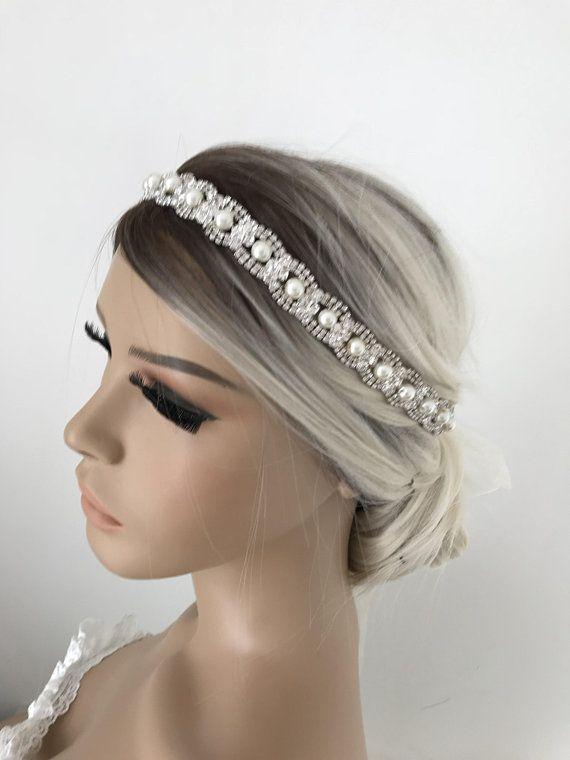Pearl bridal headband Rhinestone wedding headpiece Wedding hair vine Pearl Bridal crown pearl headpiece bridal hairpiece wedding headpiece #bridalhairpiece