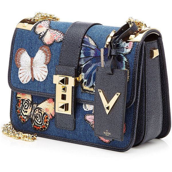 Valentino Butterfly Shoulder Bag ($3,675) ❤ liked on Polyvore featuring bags, handbags, shoulder bags, valentino handbags, chain strap purse, flap handbags, valentino purses and shoulder bag handbag