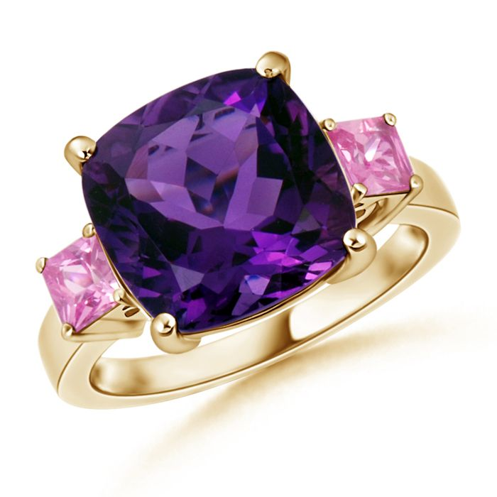 Angara Prong Set Amethyst Three Stone Ring in Rose Gold ywmrYuYI