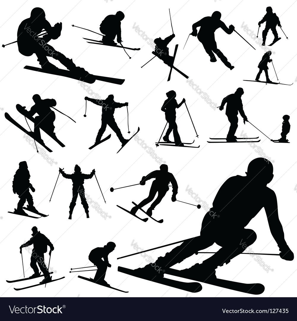 Vector Image Of Ski Silhouettes Vector Image Includes Boy Guy Black Background Action Illustrator Ai Eps Pdf Skiing Tattoo Silhouette Vector Skiing