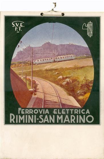 Rimini 1932 Ferrovia elettrica Rimini-San Marino. Locandina pubblicitaria