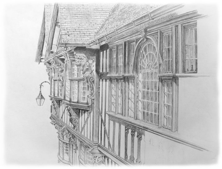 Drawings of buildings old bank buildings foregate street chester 2012 pencil drawing