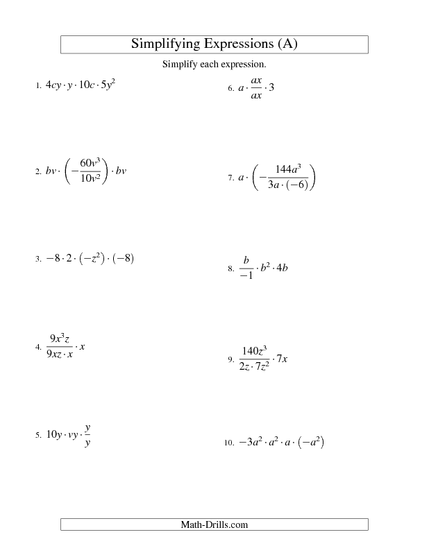 Algebra Worksheet Simplifying Algebraic Expressions With Two Writing Expressions Worksheet Algebra Worksheet Simplifying Algebraic Expressions With Two Variables And Four Terms (multiplication And Division) (a)