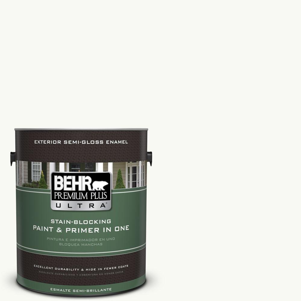 BEHR Premium Plus Ultra 1-gal. #PR-W15 Ultra Pure White Semi-Gloss Enamel Exterior Paint