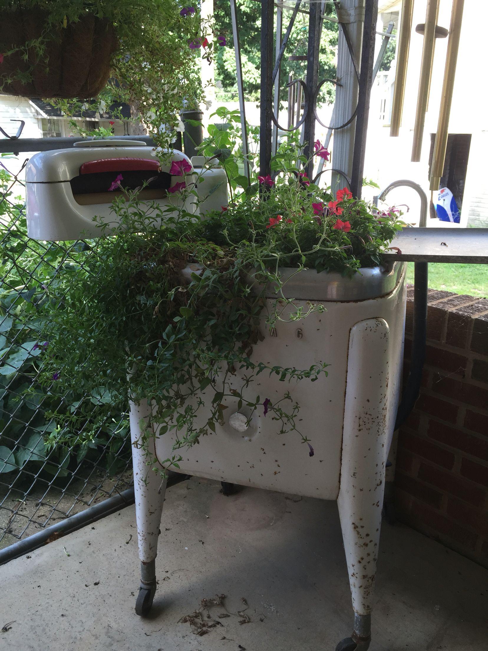 Antique Wringer Washer I Made Into A Planter Old Washing Machine Wringer Washer Vintage Washing Machine Planter