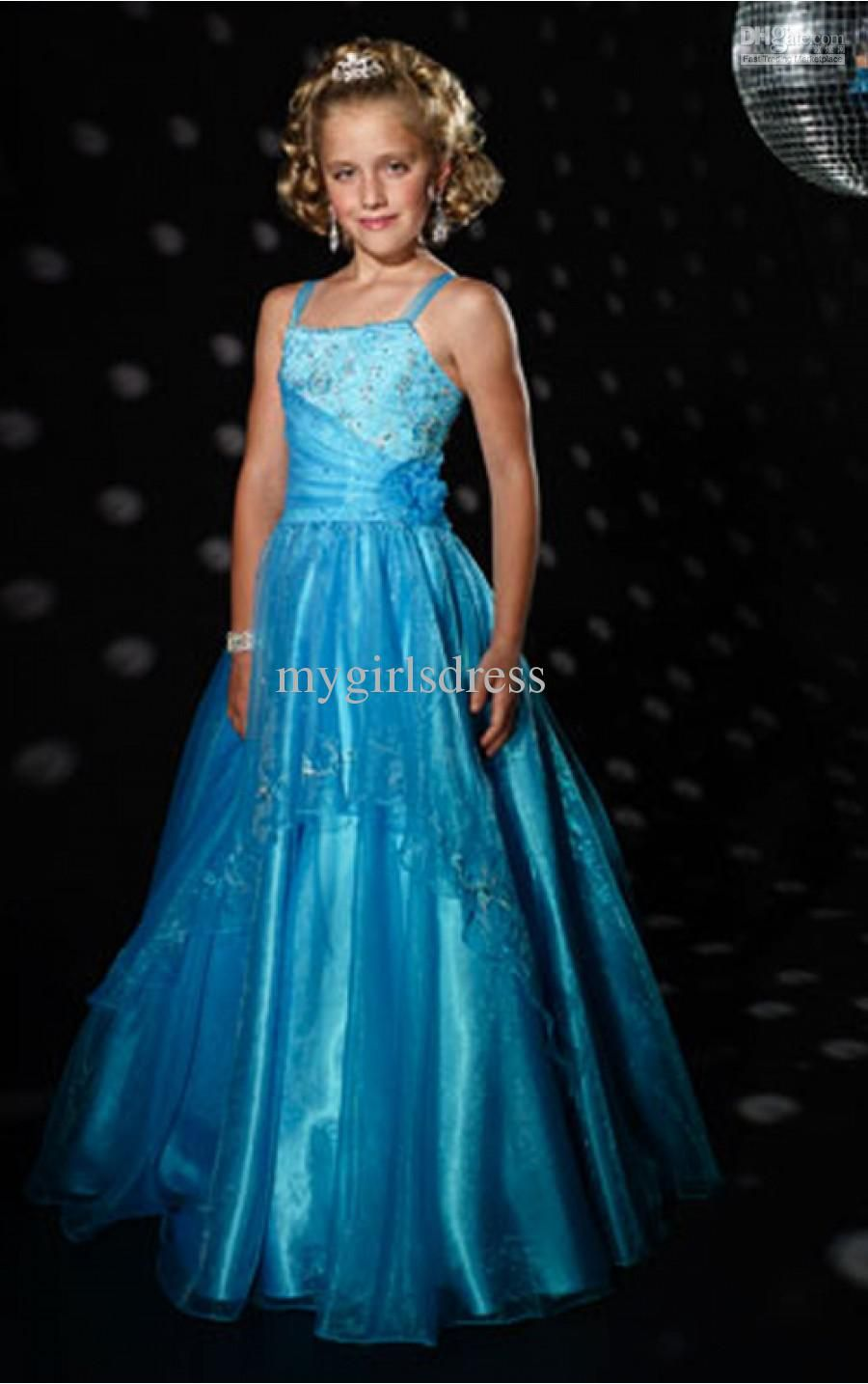 Spaghetti Ball Gown Cute Girl Kids Pageant Formal Dance Party ...