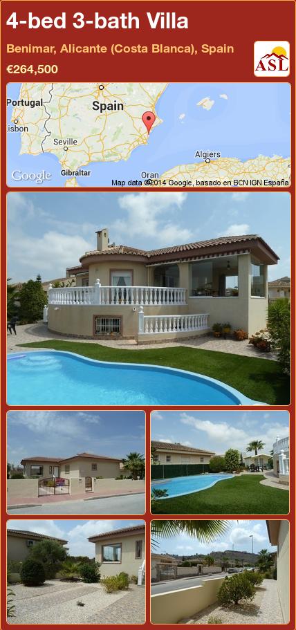 4-bed 3-bath Villa in Benimar, Alicante (Costa Blanca), Spain ►€264,500 #PropertyForSaleInSpain