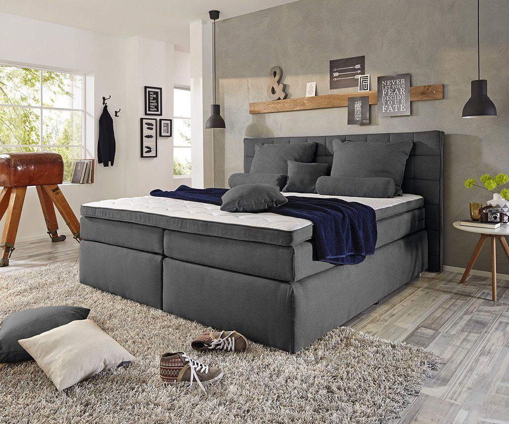 Boxspringbett Cabo Antracit 180x200cm Cu Topper Inclus Box Spring Bed Bed Springs Home
