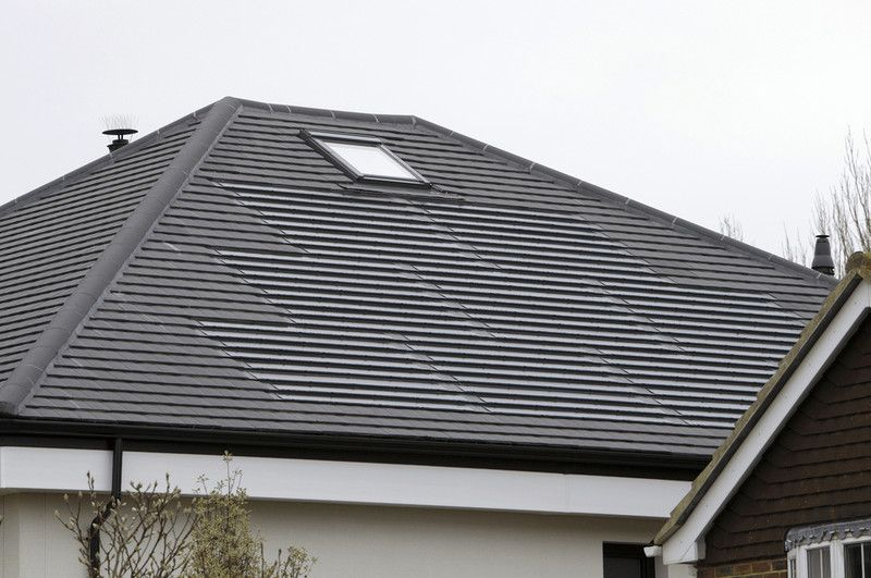 Solar Pv Tile With Duoplain Charcoal Grey Solar Roof