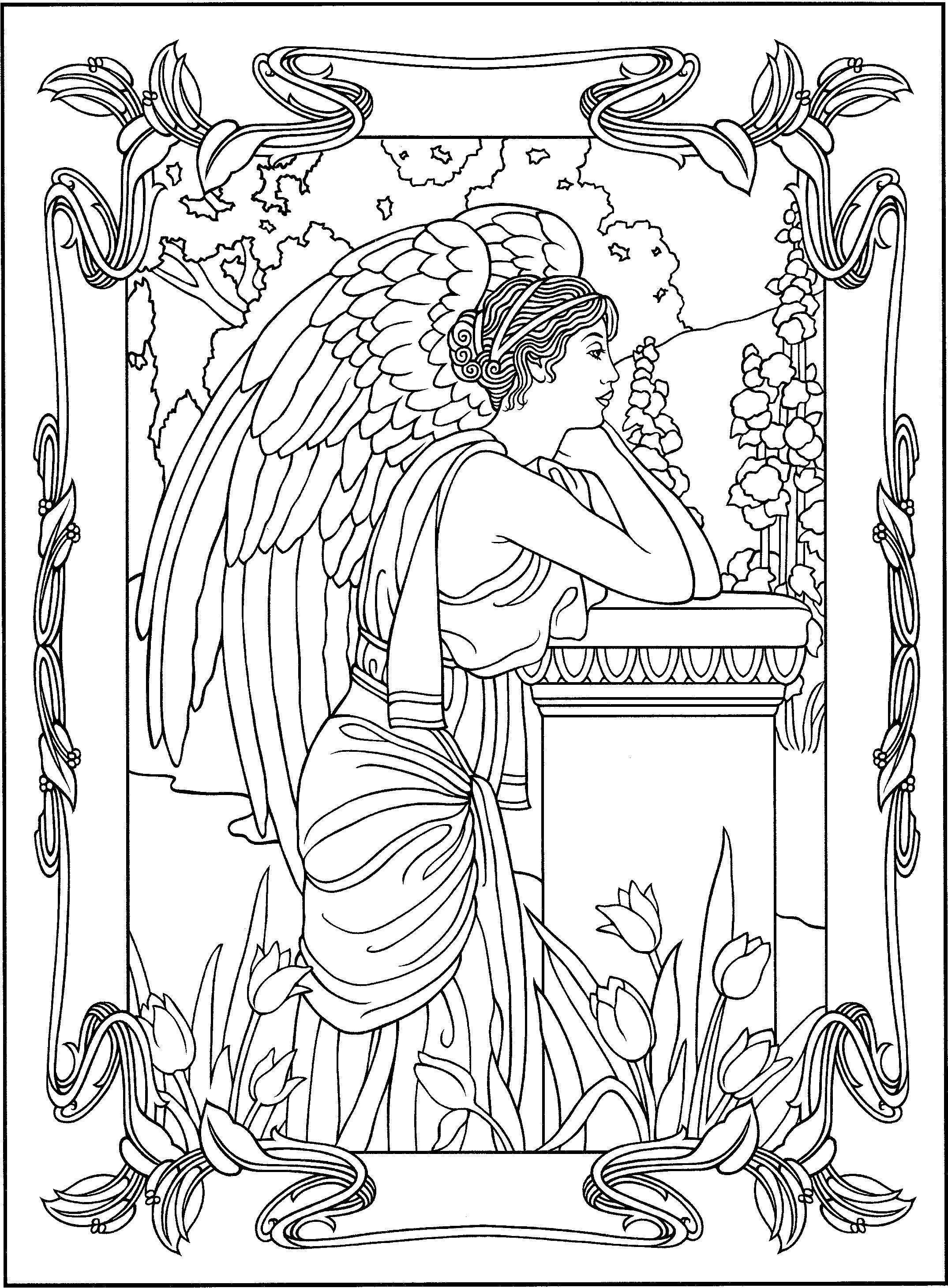 Angel coloring page angels coloring pages for adults for Angel coloring pages