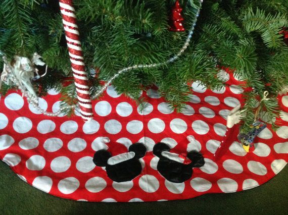 Boutique Minnie Mickey Mouse Christmas Tree Skirt By PetiteandPosh