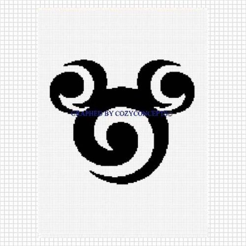Mickey mouse ears swirl ooak crochet afghan pattern graph