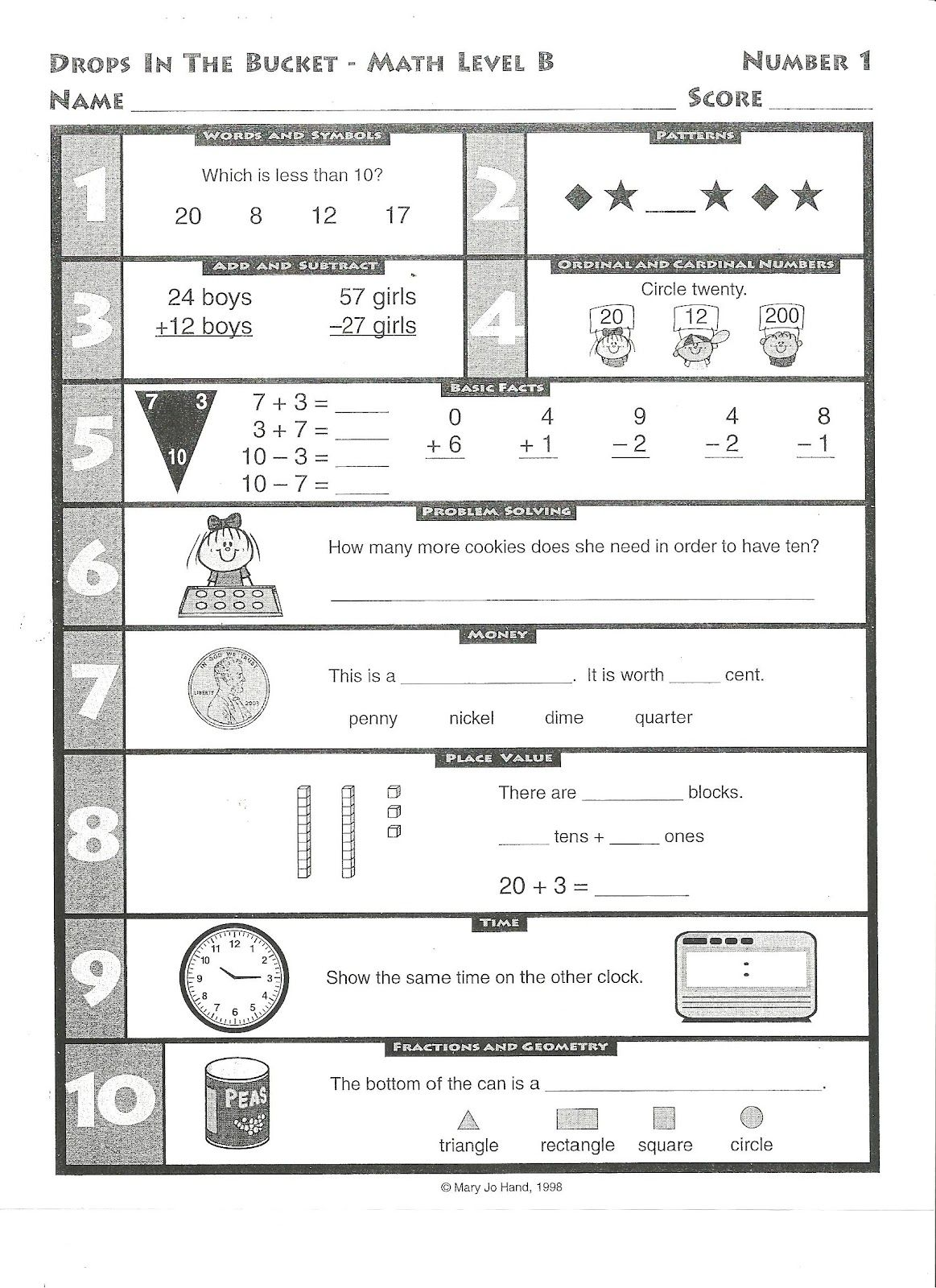 Drop Bucket Worksheets