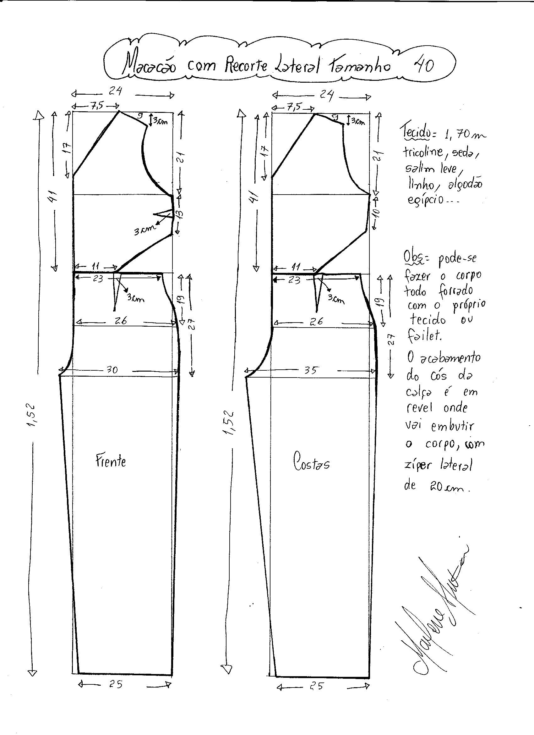 Macacão com Recorte Lateral | Molde, Costura y Patrones