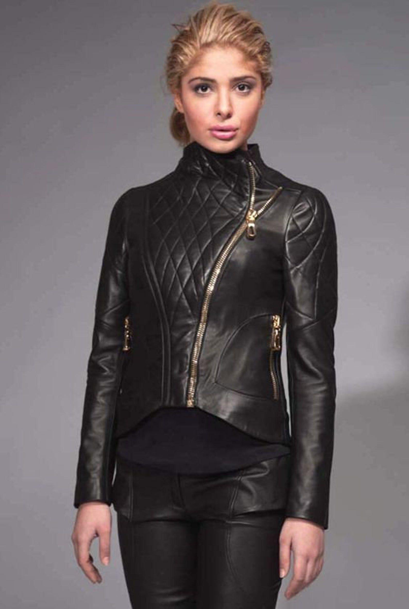 Handmade Women's Lamb Skin Leather Celebrity Jacket