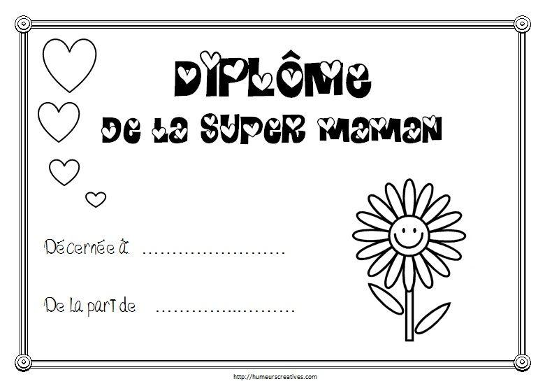 Coloriage Fete Des Mere Diplome.Diplomes A Imprimer Bricolage Et Diy Fete Des Meres Et Des Grand