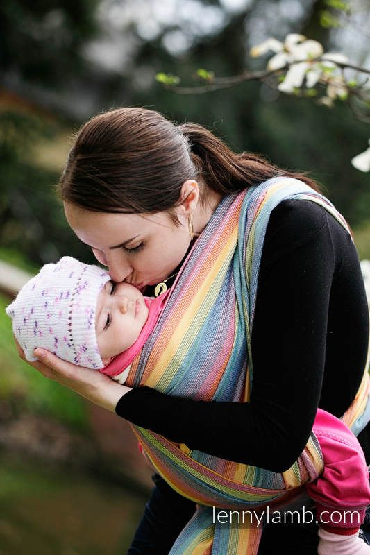 Baby Sling, Broken Twill Weave (bamboo + cotton) - Sunrise Rainbow - size XS