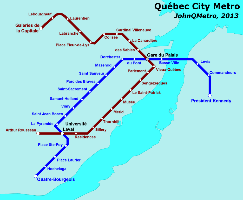 Quebec City Canada Fantasy Metro Rail System Map By JohnQMetro - Portugal underground map
