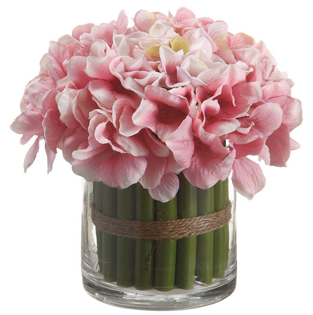 Silk flower depot 7 hydrangea standing bouquet in glass vase silk flower depot 7 hydrangea standing bouquet in glass vase reviews wayfair mightylinksfo Images