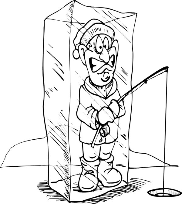 Fisherman Trapped In Icecube Coloring Page Coloring Sky Coloring Pages Winter Coloring Pages Preschool Coloring Pages