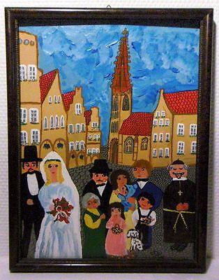 Naive Malerei  Hochzeit in Münster/Westf.  Öl auf Holz  signiert: BH 82 https://t.co/BQEshjUjxw https://t.co/gV0KDKsMsH