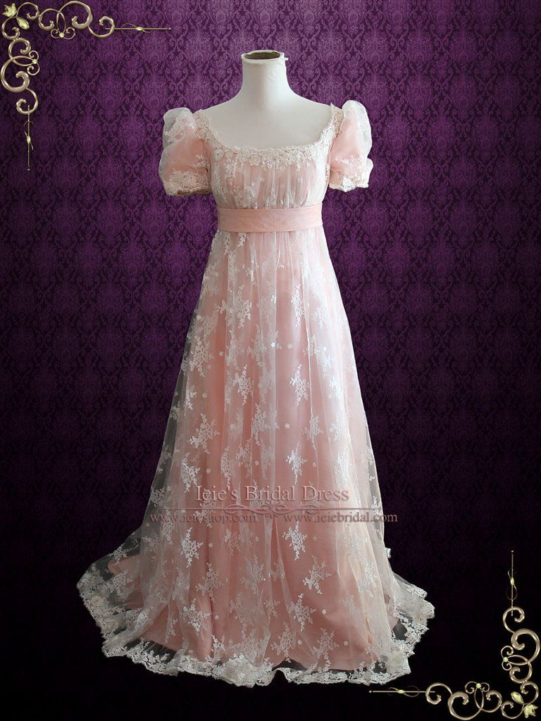Pink lace regency style ball gown wedding dress helena the circa