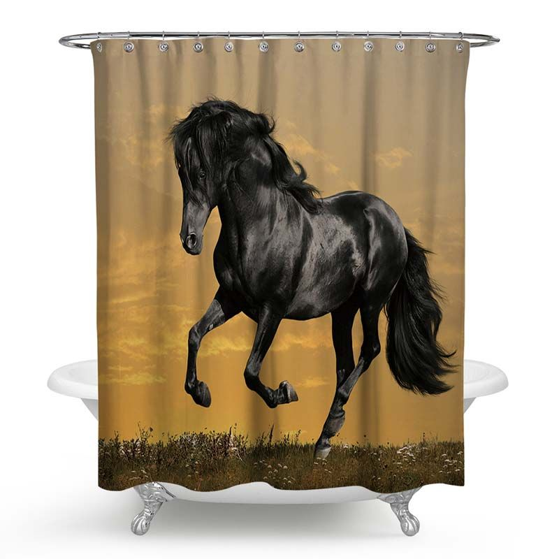 Modern Creative Shower Curtain Handsome Horse 3d Printing Shower