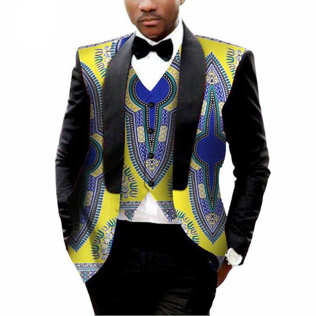 Men's Blazer and Vest Suit Set African Style Printed Large Size #africanstyleclothing