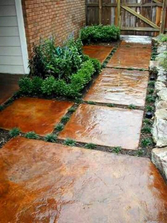 stained concrete great idea for outdoors too concern on extraordinary garden stone pathway ideas to copy id=56439