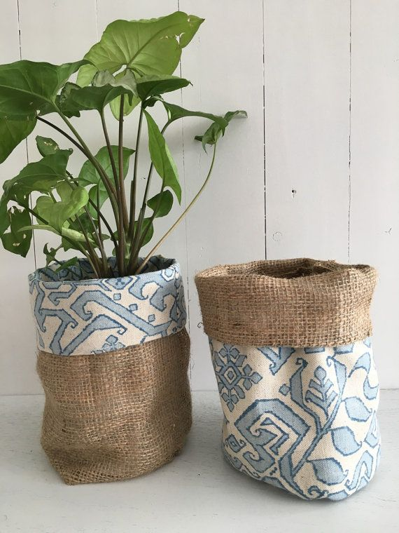Island River Hessian Pot Plant Bag By Regrace On Etsy