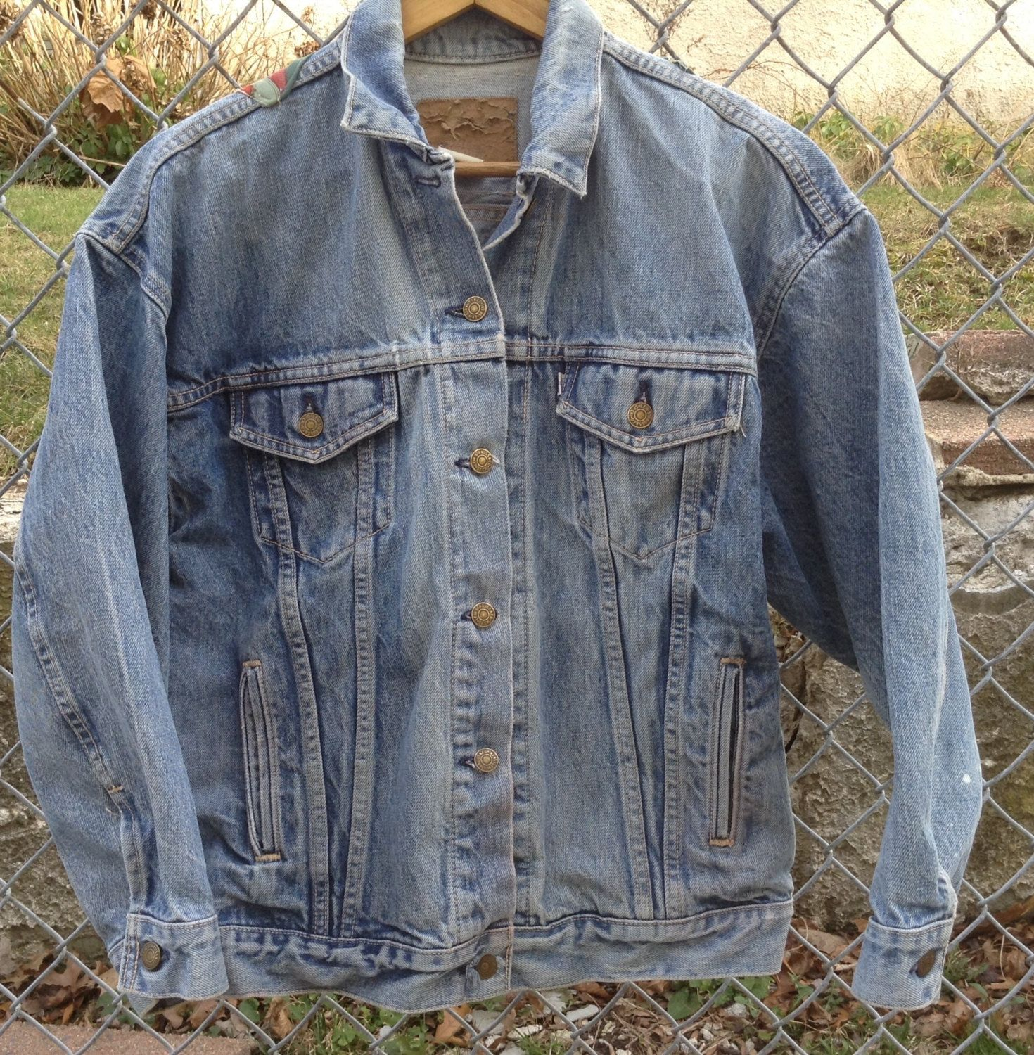 Levi Jean Jacket - Vintage Levi Denim Jacket - Mens Levi Jacket - Decorated Jean Jacket - Levi sz Medium Jean Jacket With White Tab - Gift AbxWDYVlsP