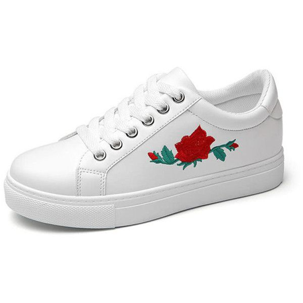 919f6ca2876 Flower Embroidery PU Lace Up Sneakers (28 BRL) ❤ liked on Polyvore  featuring shoes