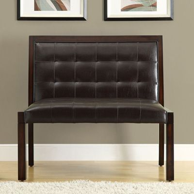 Faux Leather 40 Inch High Back Bench Kitchen Nook Wine Theme