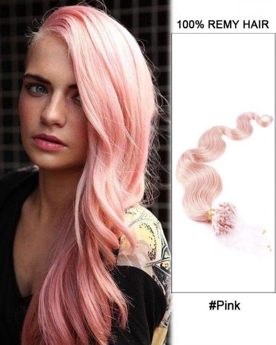 Wholesale Pink 18 24 Body Wave 100 Remy Hair Human Micro Loop