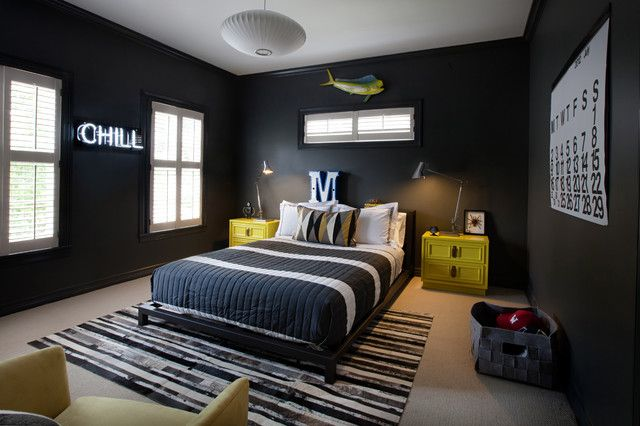 proof that black walls can grow with the kid beyond the nursery (room by  Sally Wheat Interiors)