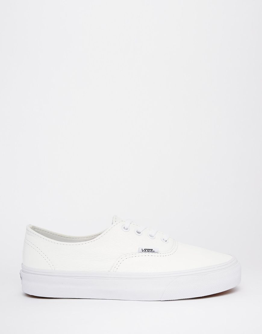 3b399666783 Image 2 of Vans Authentic Decon White Leather Trainers