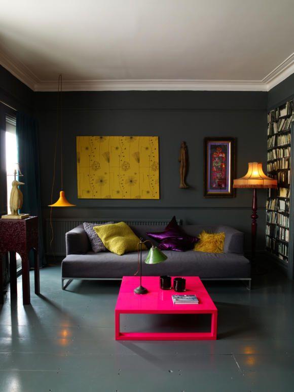 Wohnzimmer in Grau mit bunten Akzenten Interior Pinterest - wohnzimmer orange grau