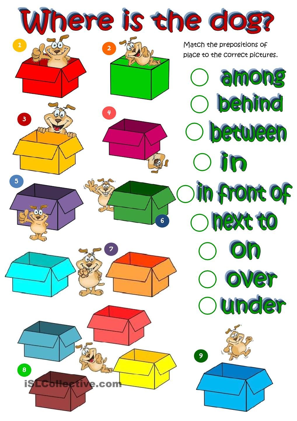 Wheres the dog prepositions of place worksheet Free ESL – Preposition Worksheets Pdf