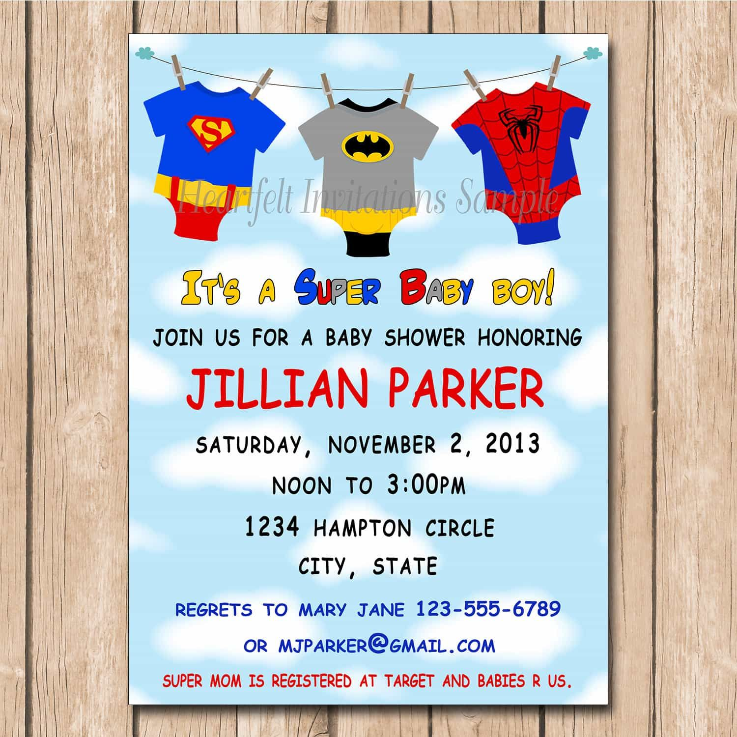 cool Unique Ideas For Superhero Baby Shower Invitations Templates ...