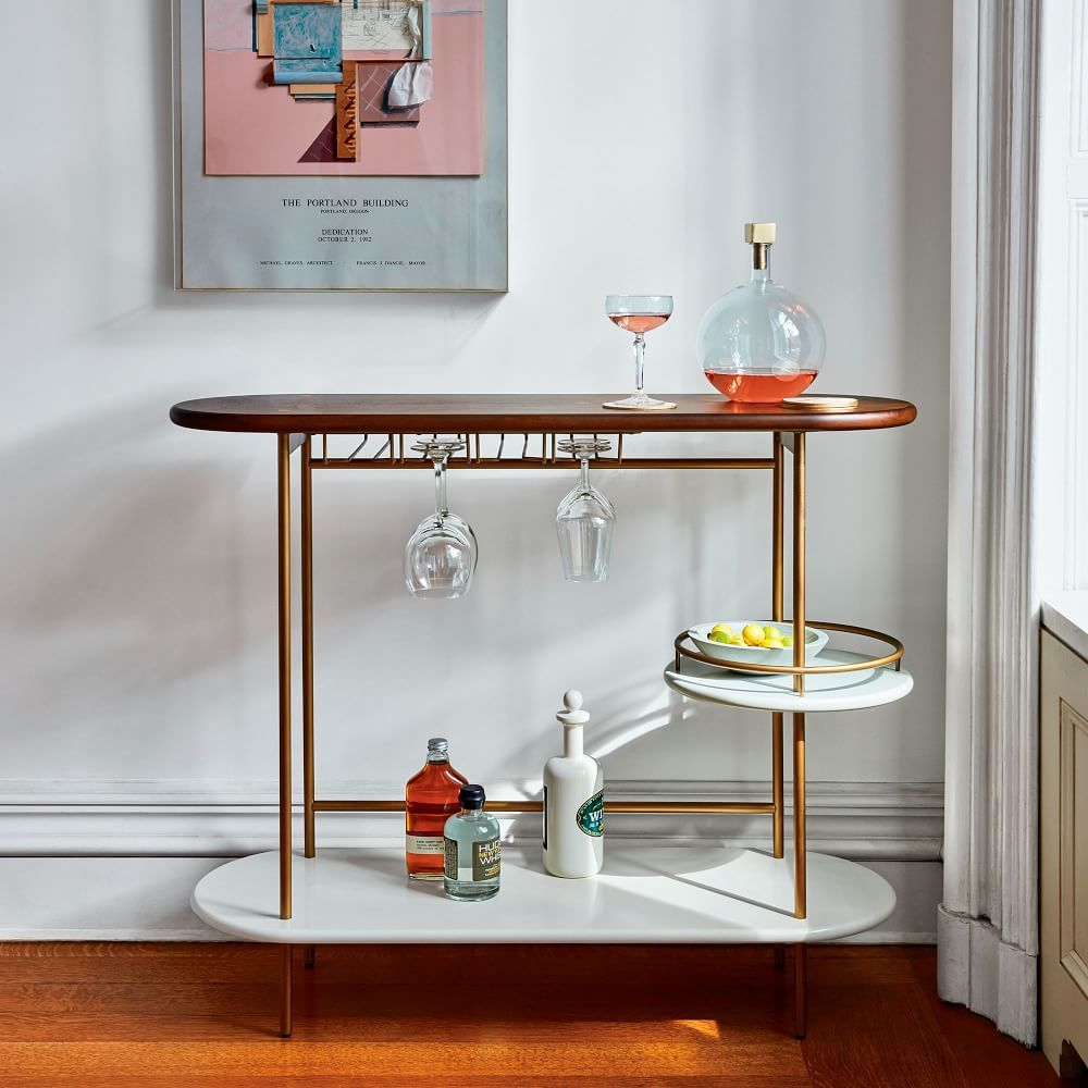 Glass console table decor  Tiered Bar Console  Bar cart  Pinterest  Consoles Bar and Bar carts