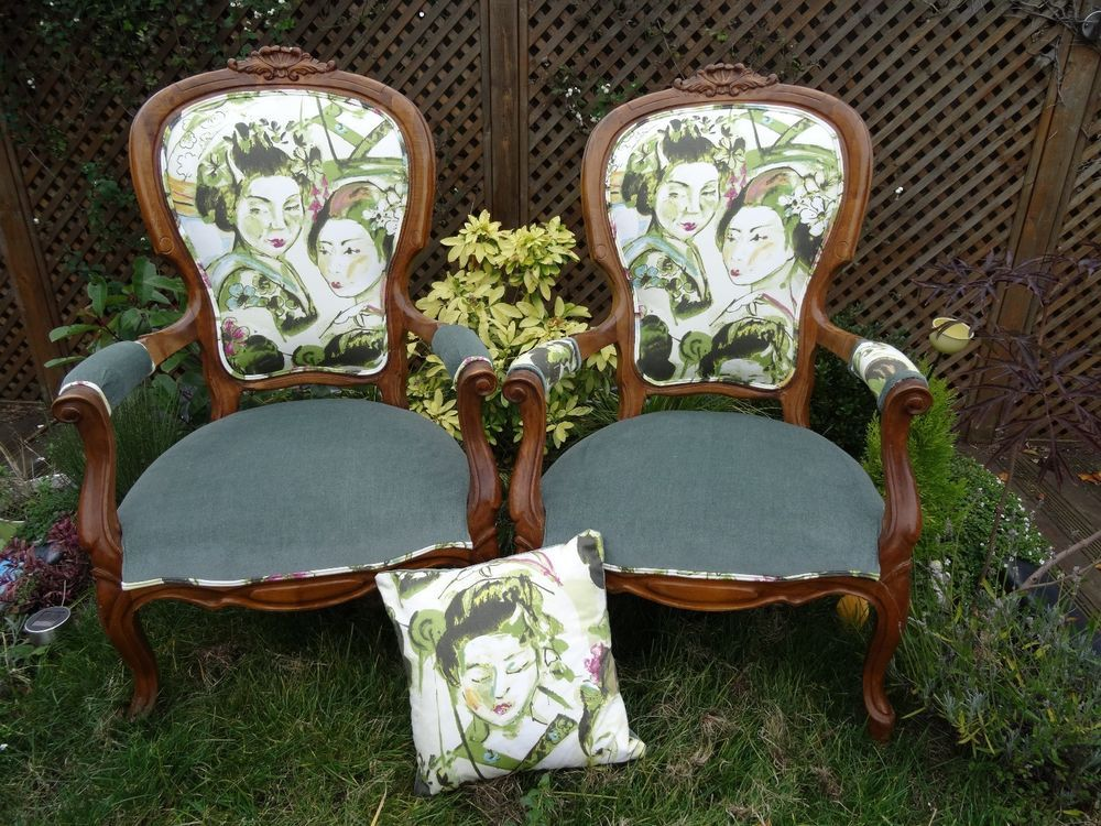 Pair of Beautiful Maple Chairs reupholstered in Japanese Geisha Girls Fabric - Undefined Antiques For Sale Pinterest Antique Chairs And EBay
