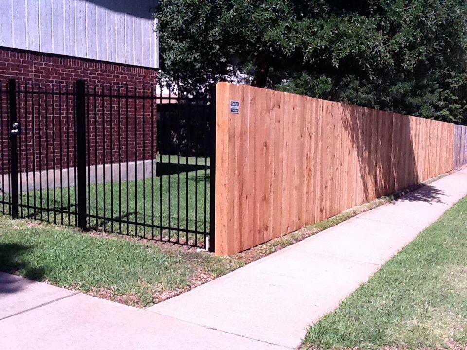 Wood And Ornamental Iron Fence Combo Iron Fence Wrought Iron