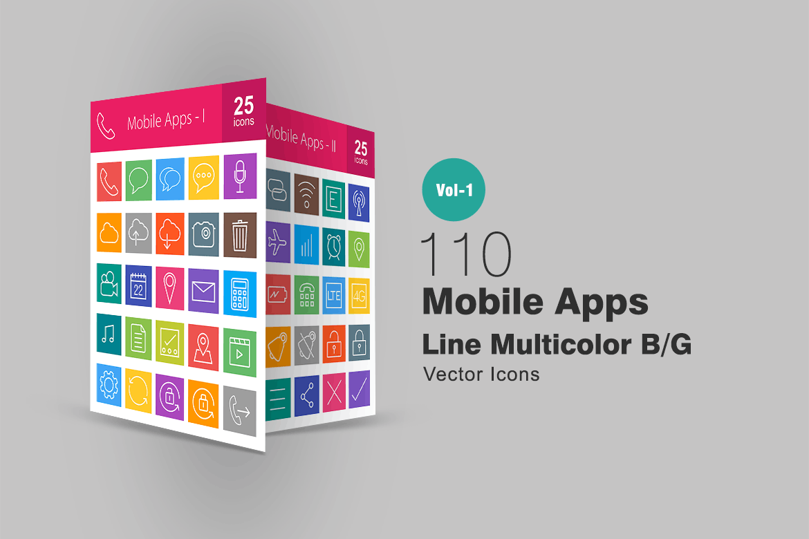 110 Mobile Apps Line Multicolor Icons mobile, camera,
