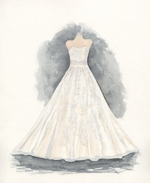 Custom Wedding Dress Painting Dress Drawing Holiday Gift Christmas