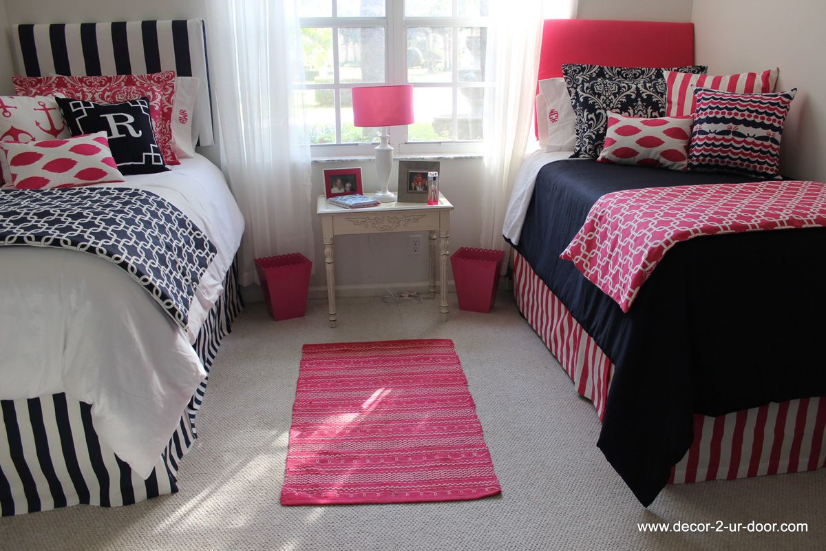 Preppy Dorm Bedding: Nautical Navy And Preppy Pink Dorm Room Coordinating Navy